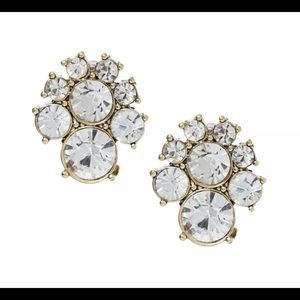 ROUND GOLD FACET CLEAR CRYSTAL CLUSTER STUD EARRIN